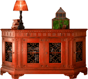 Carved sideboard with iron
